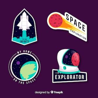 Leuk kleurrijk ruimtestickerspakket