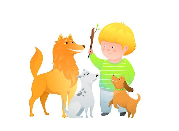 Leuk kleuterjong geitje en zijn hondenvrienden, humoristische karakters, dieren en een kind spelen.