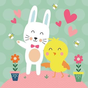 Leuk konijn en kuikens in de tuin voor de wenskaart van pasen