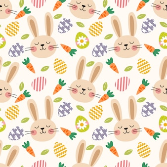Leuk konijn en paaseieren naadloos patroon.