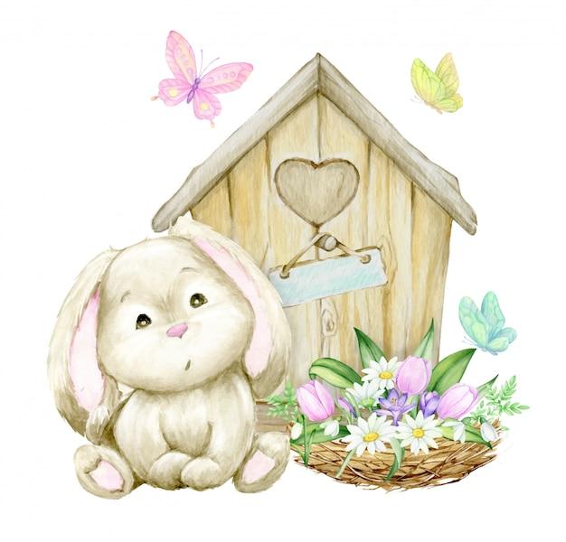 Leuk konijn, zittend op de achtergrond van een houten huis, nest met een boeket bloemen en vlinders. waterverfconcept op een de lentethema.