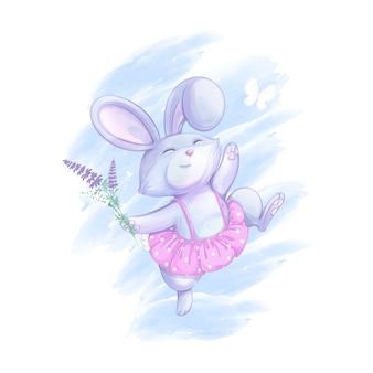 Leuk konijnenmeisje in een roze rok met een stippenpatroon heeft leuk springen.