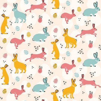 Leuk konijnpatroon met paaseieren