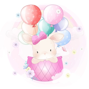 Leuk konijntje dat met luchtballon vliegt