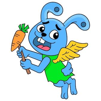 Leuk konijntje die gevleugelde dragende wortelen vliegen om te eten, vectorillustratieart. doodle pictogram afbeelding kawaii.