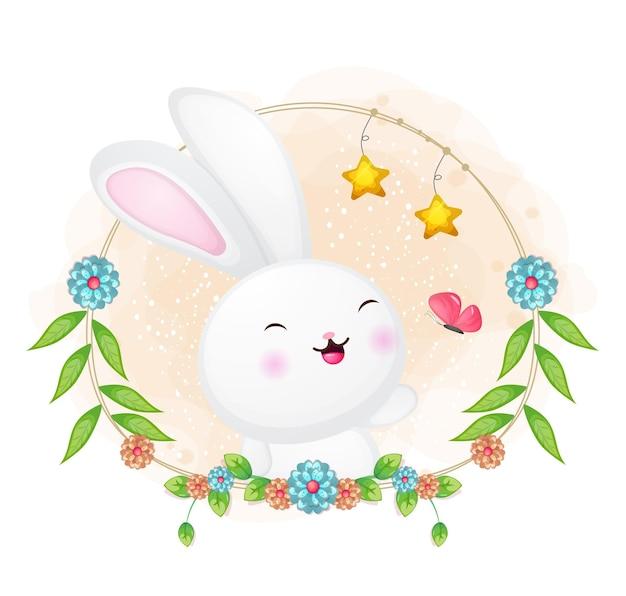 Leuk konijntje en vlinder die met bloemenbeeldverhaalillustratie spelen.