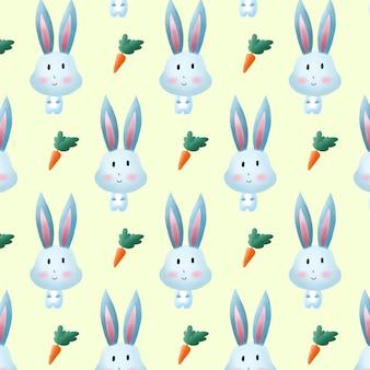 Leuk konijntje en wortelpatroon.