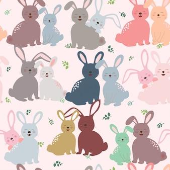 Leuk konijntje in kleurrijk toon naadloos patroon voor jong geitjeproduct