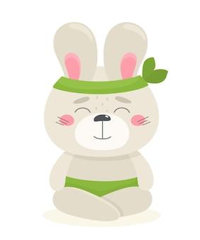 Leuk konijntje mediteert. vectorillustratie in cartoon-stijl.