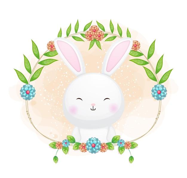 Leuk konijntje met bloemenbeeldverhaalillustratie.