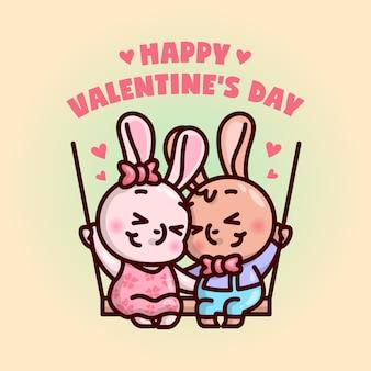 Leuk konijntje paar zit op schommelbord en voel je in liefde illustratie met gelukkige valentijnsdag tekst.