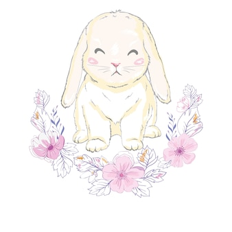 Leuk konijntjesmeisje met kroon, droom grote prinses