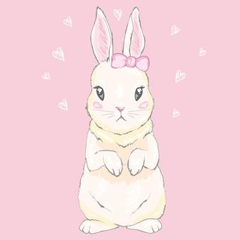 Leuk konijntjesmeisje met kroon. droom grote prinses