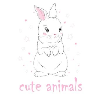 Leuk konijntjesmeisje met kroon