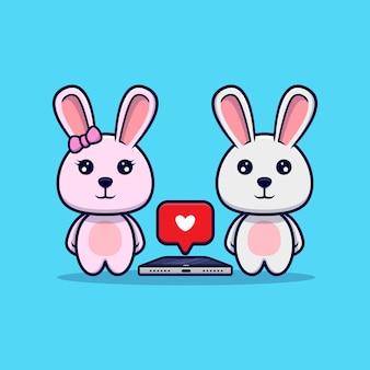 Leuk konijntjespaar krijgt liefde in telefoon
