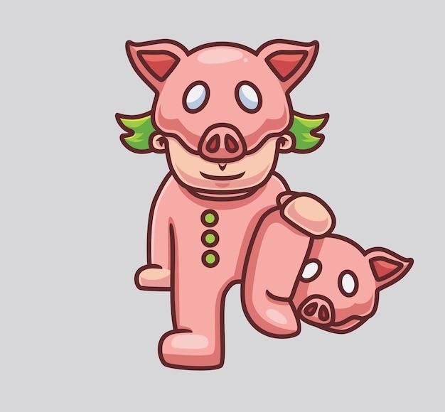 Leuk kostuumvarken geïsoleerde cartoon dier halloween illustratie vlakke stijl geschikt