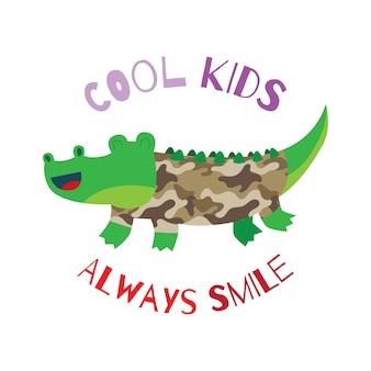 Leuk krokodilkarakter in de serie van het legerthema