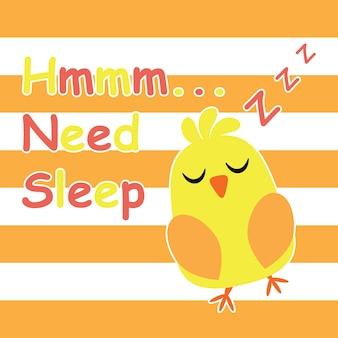 Leuk kuiken is het slapen van cartoon, kinderen briefkaart en t-shirt ontwerp voor kinderen vector illustratie