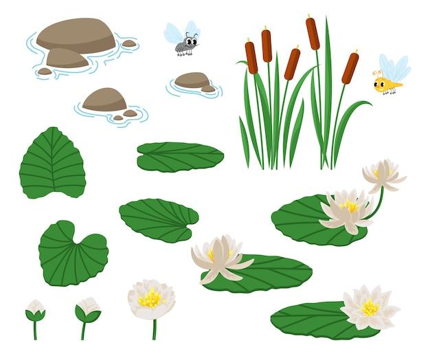 Leuk, kwakend, verliefd, lachend, bang, hongerig. water- en moerasplanten met waterlelie en riet