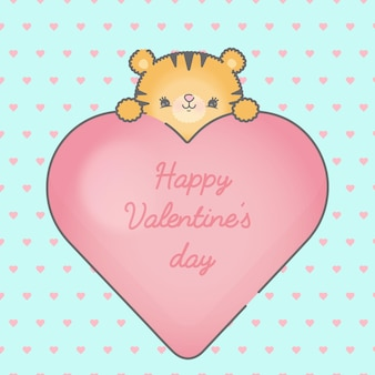 Leuk leeuw en hartkader met premie van het harten de naadloze patroon