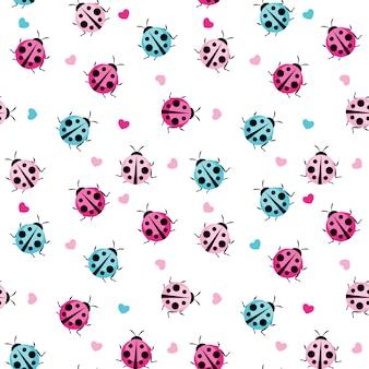Leuk lieveheersbeestje naadloos patroon voor behang