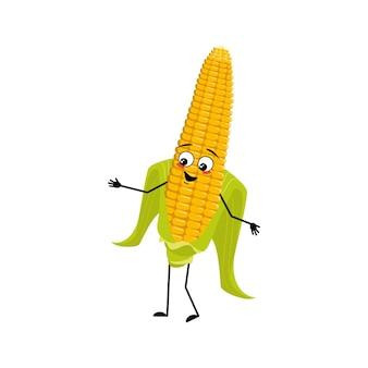 Leuk maïskolfkarakter met vrolijke emoties blij gezicht glimlach ogen armen en benen grappige gele groente
