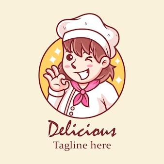 Leuk meisje chef-kok cartoon