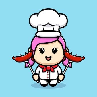 Leuk meisje chef-kok worst mascotte ontwerp