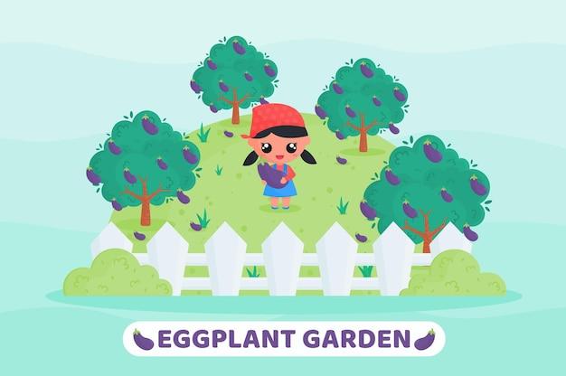 Leuk meisje dat aubergines oogst in de auberginetuin met grote aubergines in de hand