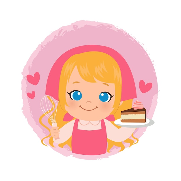 Leuk meisje dat een chocoladetaart bakt. blonde vrouwelijke chef-kok bakkerij logo. plat ontwerp.
