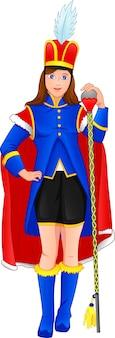 Leuk meisje dat een kostuum van de fanfare-leider draagt