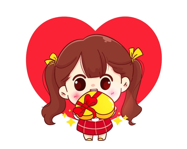 Leuk meisje dat gift, gelukkige valentijnskaart, de illustratie van het beeldverhaalkarakter geeft