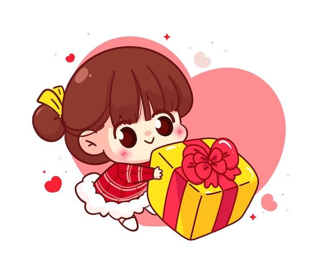 Leuk meisje dat giftdoos, gelukkige valentijnskaart, de illustratie van het beeldverhaalkarakter geeft