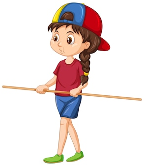 Leuk meisje dat houten handvat staat en vasthoudt