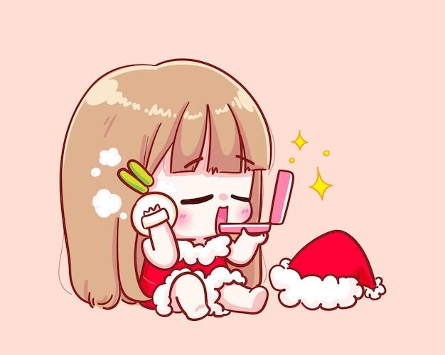 Leuk meisje dat in het kostuum van de kerstman illustratie maakt