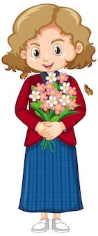 Leuk meisje dat in rood overhemd mooie bloemen houdt