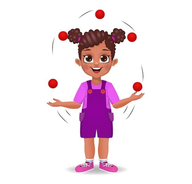 Leuk meisje dat jongleert