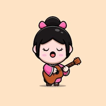 Leuk meisje dat kimonokleding draagt die gitaar speelt en tekenfilmillustratie zingt