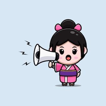 Leuk meisje dat kimonokleding draagt die op de illustratie van het megafoonbeeldverhaal spreekt