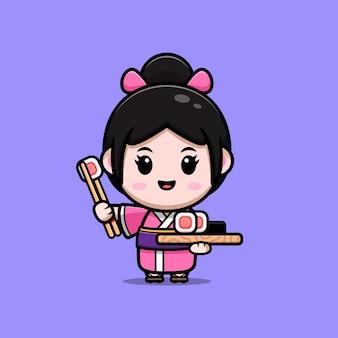 Leuk meisje dat kimonokleding draagt met de afbeelding van het sushibeeldverhaal