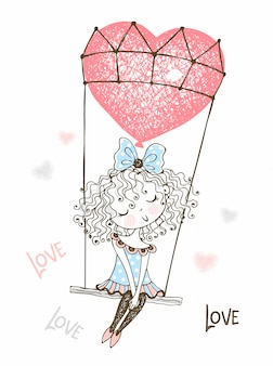 Leuk meisje dat op een ballon in de vorm van een hart vliegt. valentine.