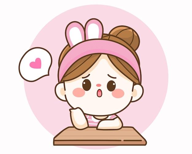 Leuk meisje dat op iemand wacht handgetekende cartoon kunstillustratie