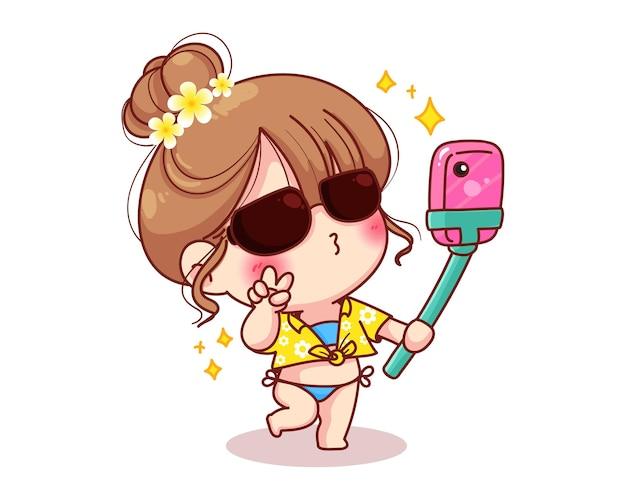 Leuk meisje dat selfie foto op tropische zomer cartoon afbeelding neemt