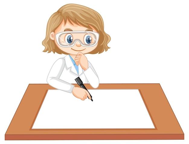 Leuk meisje dat wetenschapperuniform draagt dat op blanco papier schrijft
