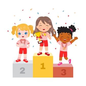 Leuk meisje dat zich op podium als winnaar van de sportcompetitie bevindt. kampioenschapsviering. platte cartoon ontwerp