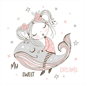 Leuk meisje dat zoet op een magische walvis slaapt. droom zacht.