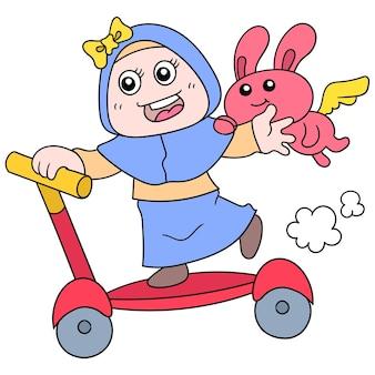 Leuk meisje die een autoped met haar huisdierenkonijn berijden, vectorillustratieart. doodle pictogram afbeelding kawaii.