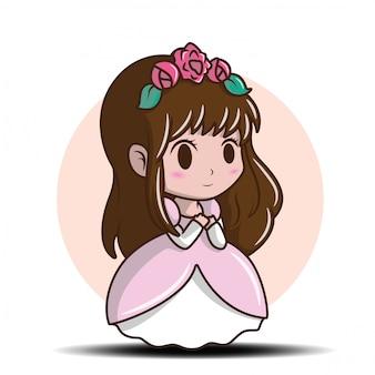 Leuk meisje die een prinses dragen., het luchtige concept van het verhaalbeeldverhaal.