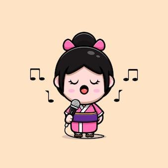 Leuk meisje die kimonokleding dragen die op de illustratie van het microfoonbeeldverhaal zingen