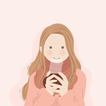 Leuk meisje die sjaal dragen die zich opwarmen met het houden van warme drank